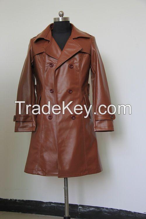 Women Long Coat Black PU Lapel Winter Coat
