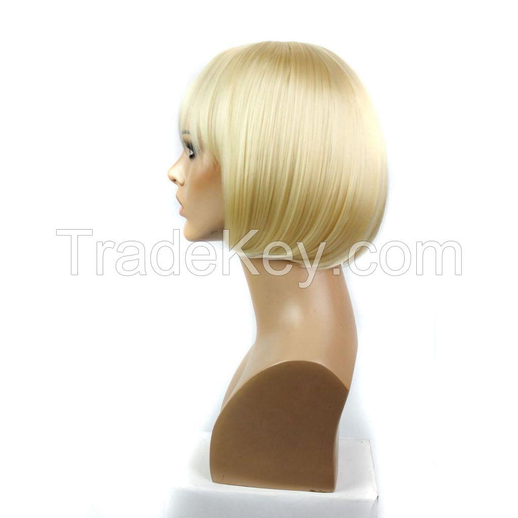 Beautiful Blonde Short Bob  Straight Hair With Slanting Bang