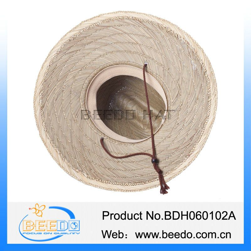 High quality mat straw cowboy hat with wind break for men
