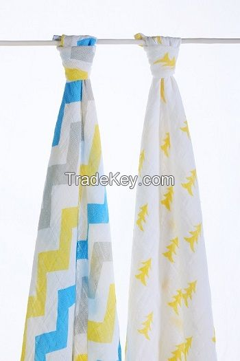 LAT pre-washed organic cotton muslin swaddles