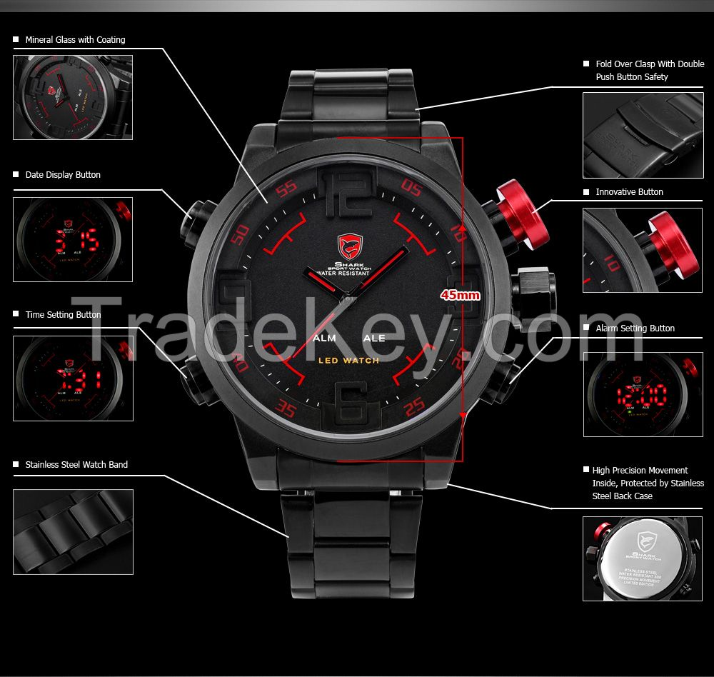SHARK Analog Alarm Digital LED Sports Men's Wrist Watc