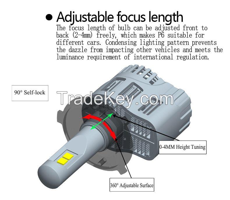 P6  led   car  headlight  bulb  45w  4500lm/bulb