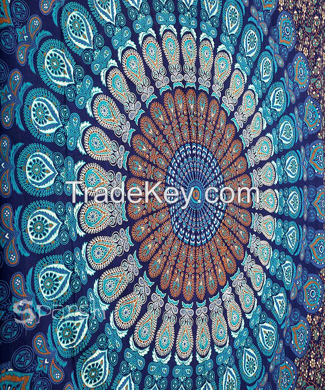 Block Printed Bed Sheet /Bed Spread Hippie Mandala Indian Tapestry/Blue Cotton Mandala Bed cover