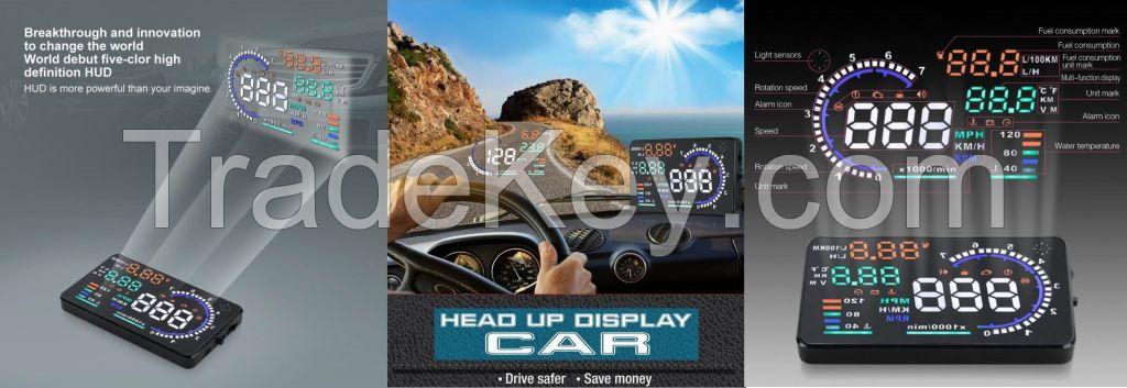 2015 New A8 Car HUD Head Up Display System OBD II Speed Monitor Head up HUD Display hud speed display
