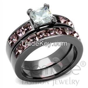 Delicate Pave Diamond Stainless Steel Wedding Ring Sets