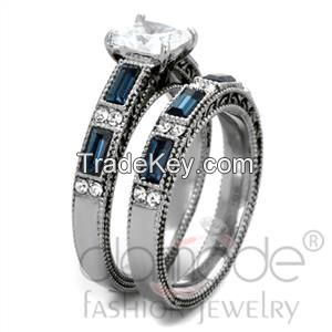 2015 Beautiful Stainless Steel CZ Wedding Ring Sets
