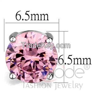 LO3952 Rhodium AAA Grade CZ Rose Pink Stud Earrings