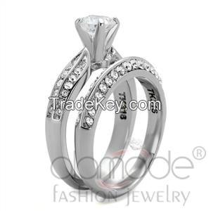 TK1920 Stainless Steel AAA Grade CZ Intricate Wedding Ring Set