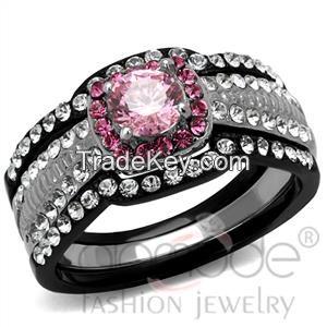 TK2651 Black Lust Claw Set Halo Stainless Steel AAA Grade CZ Wedding Ring Set