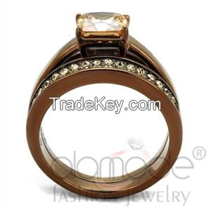 TK2670 Le Chocolat Cathedral-Styled Stainless Steel AAA Grade CZ Wedding Ring Set