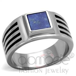 Must-have Stylish Stainless Steel Precious Stone Ring for Men