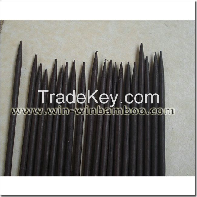 Dyed black U-shape bow bamboo flower sticks with waxed one end pointed for gardening