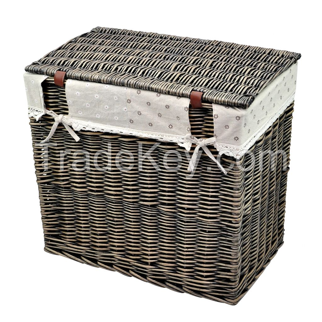 I WILL Rectangle Wicker Hand-woven Family Size Divided Double Laundry Hamper with Cotton Liner and Lid (Gray-black, Coffee, Honey Brown)