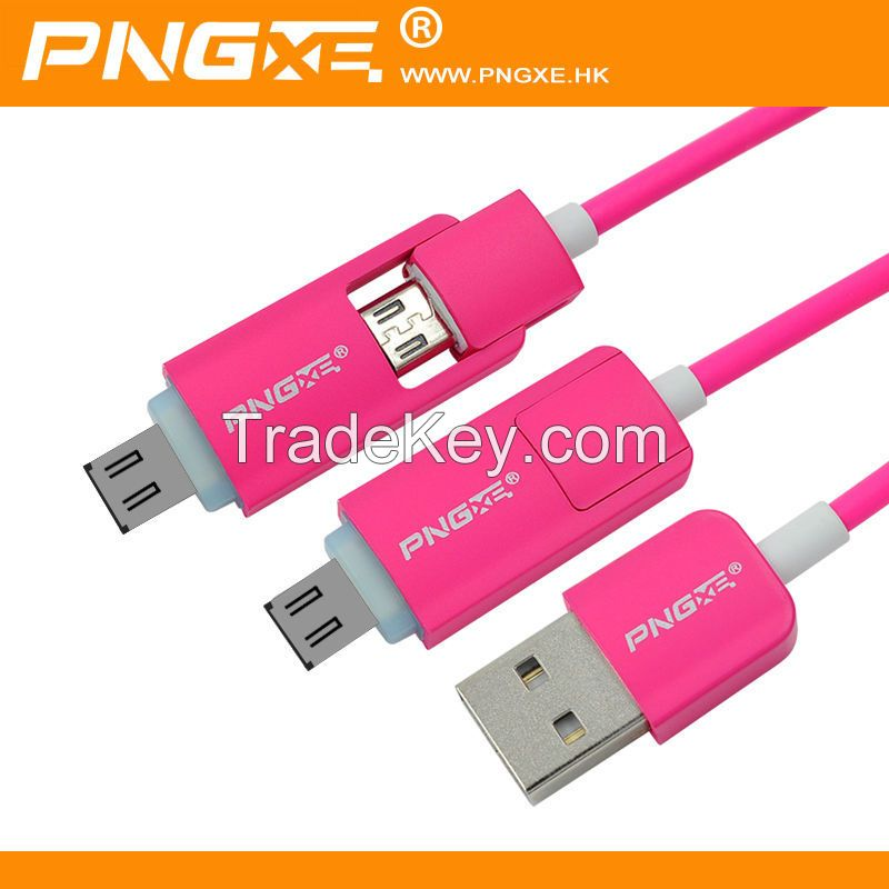 PNGXE Wholesale 2 in 1 Micro USB Data Cable with Led light for iphone for samsung
