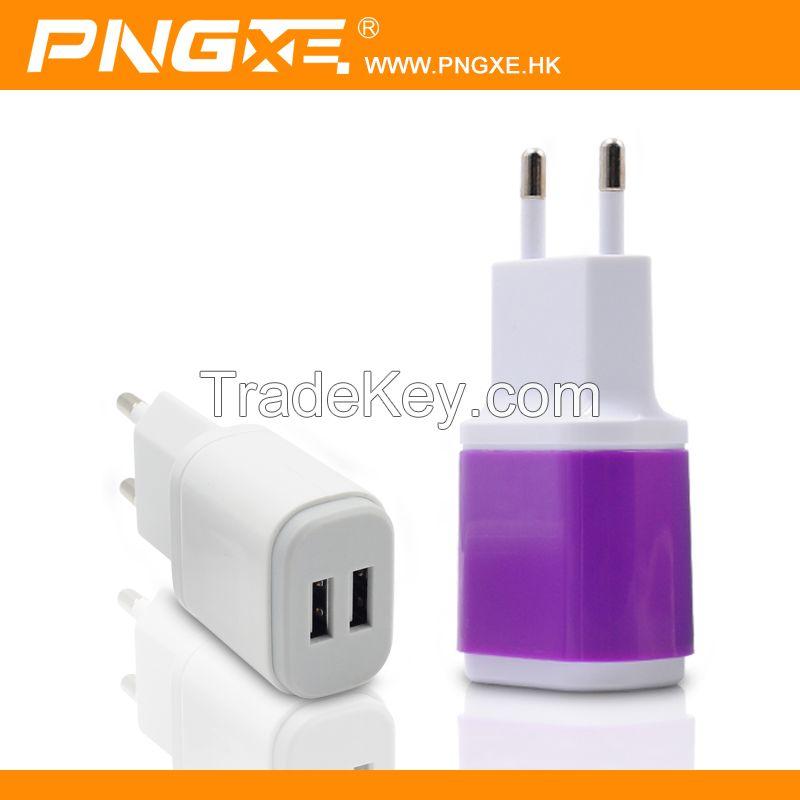 China Manufacturer PNGXE Support 5V/2.1A EU plug dual USB travle wall charger