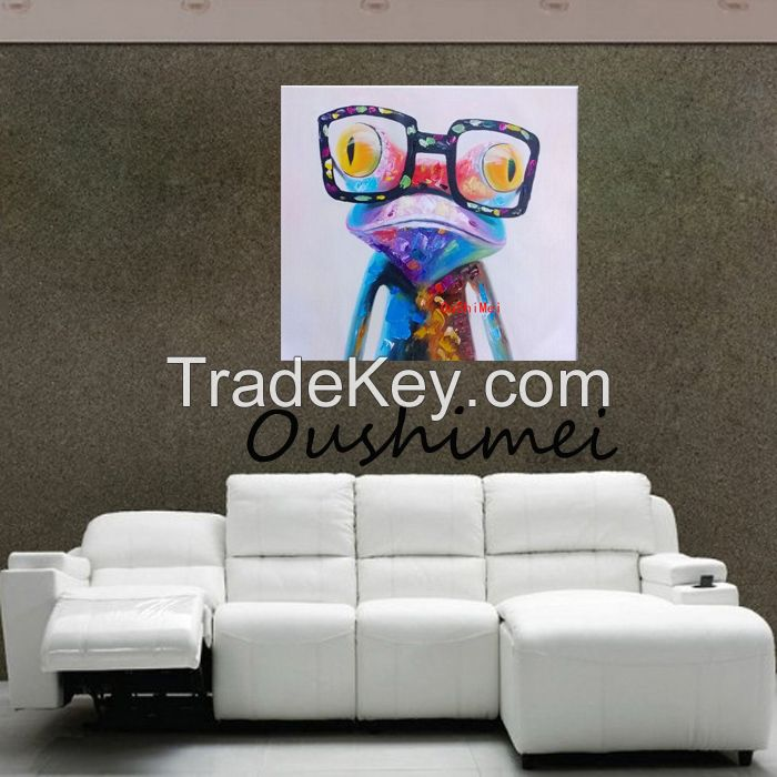 Cartoon Animal Abstract Oil Painting Frog Wears Glasses Wall Stickers