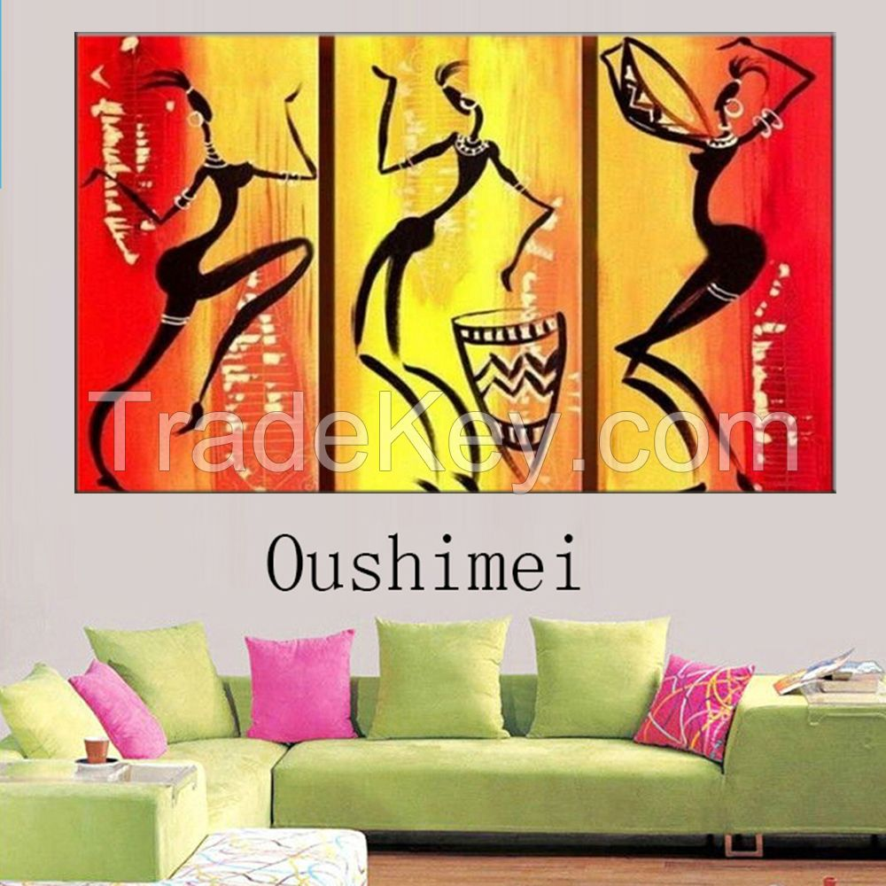 Pop modern oil painting on canvas colourful dress fashion girls models