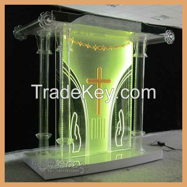 2015 new church pulpit, automatic changing color church pulpit.