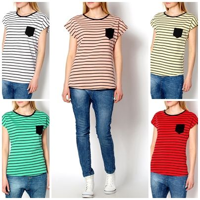 2015 New Women Slim Fashion Striped Colour Trendy Stylish T-shirt Girls Top B4017