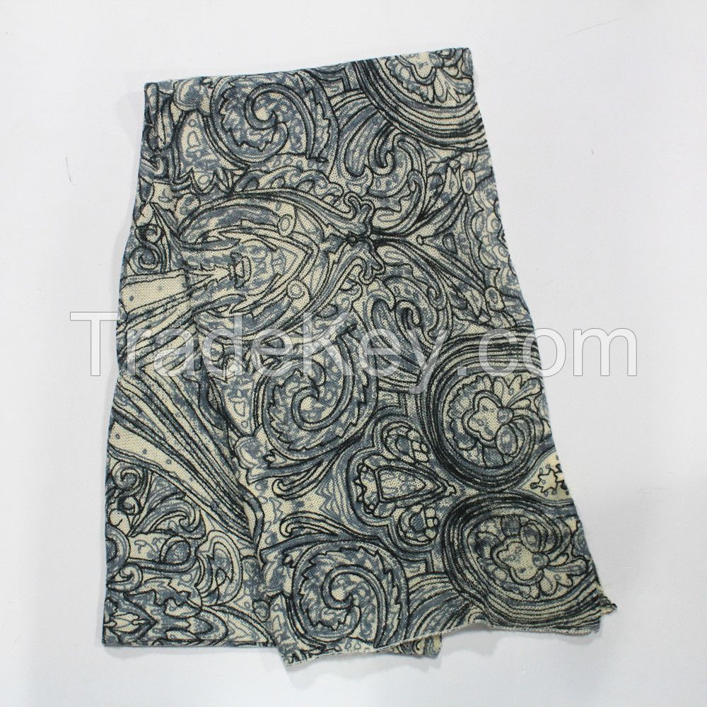 100% acrylic knitting scarf with printing for ladies
