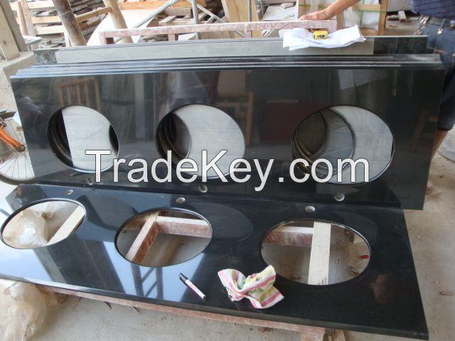 Wellest China Black,Hebei Black Granite Countertop with Undermount Sink,Bar Top, Restaurant Top,Front Desk, Kitchen Top