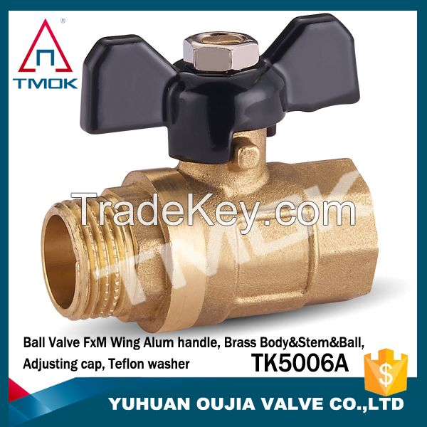 TMOK DN15 medium pressure female NPT thread full port forged brass ball valve steel lever handle PTFE sealing CE ISO approved China dirct factory