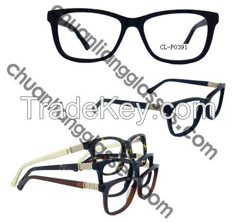 100% Pure Acetate Square Frame Optical Eyewear Carbonate Fabric Temple Eyeglasses