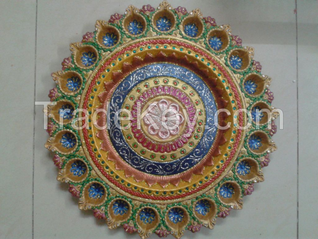 Decorative Clay Diya Plate