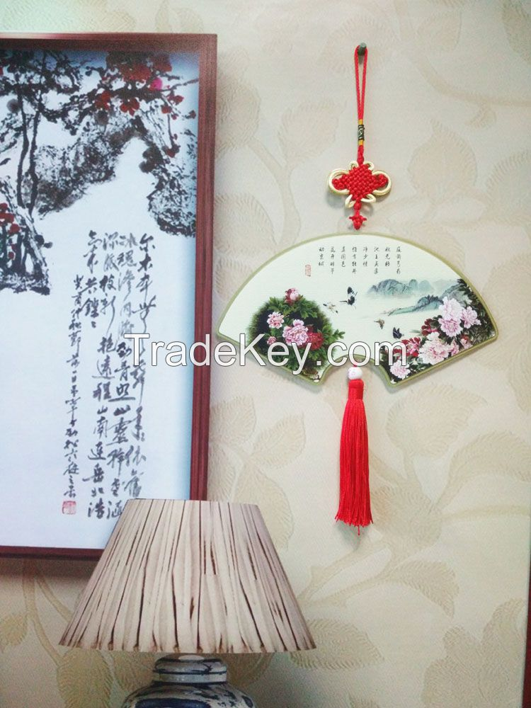 Plastic Landscaping Pattern Hanging Ornament with Chinoiserie