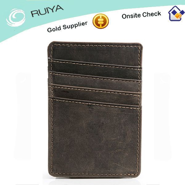 Men Personalized Slim Leather Credit Card Magnetic Money Clip Wallet
