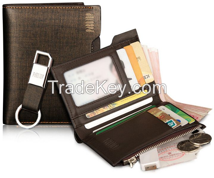 Leather Wallet with Credit card and loop holder slim smart genuine or PU men leather wallet