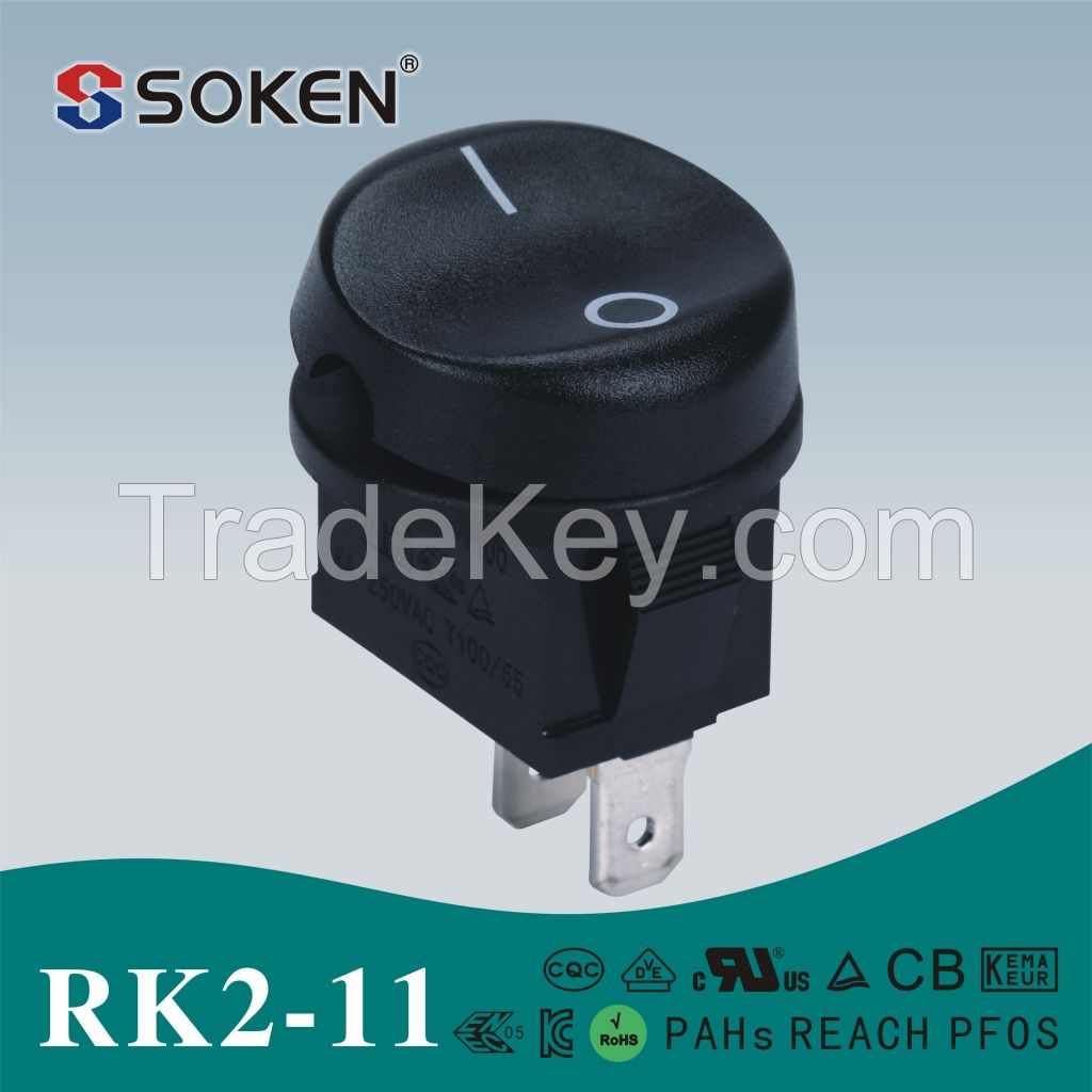 RK2-11 SPST 6A 250VAC Rocker switch