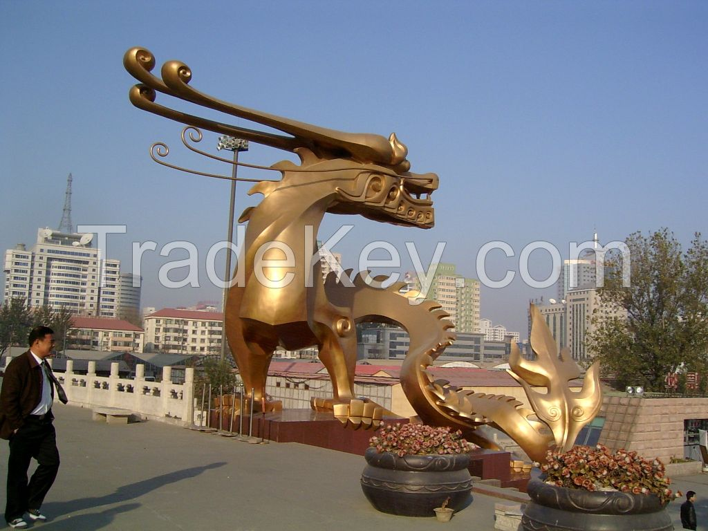 Gilding with 24k Real gold Fiberglass Large Sculpture