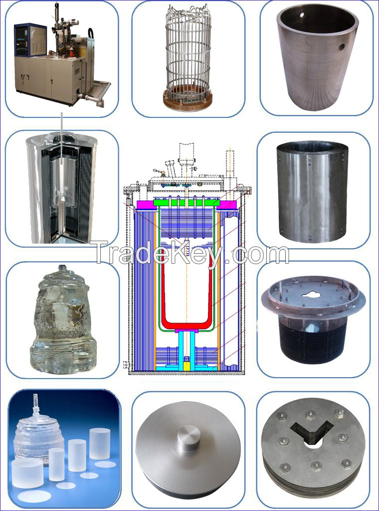 W and Mo parts in sapphire crystal growth furnace