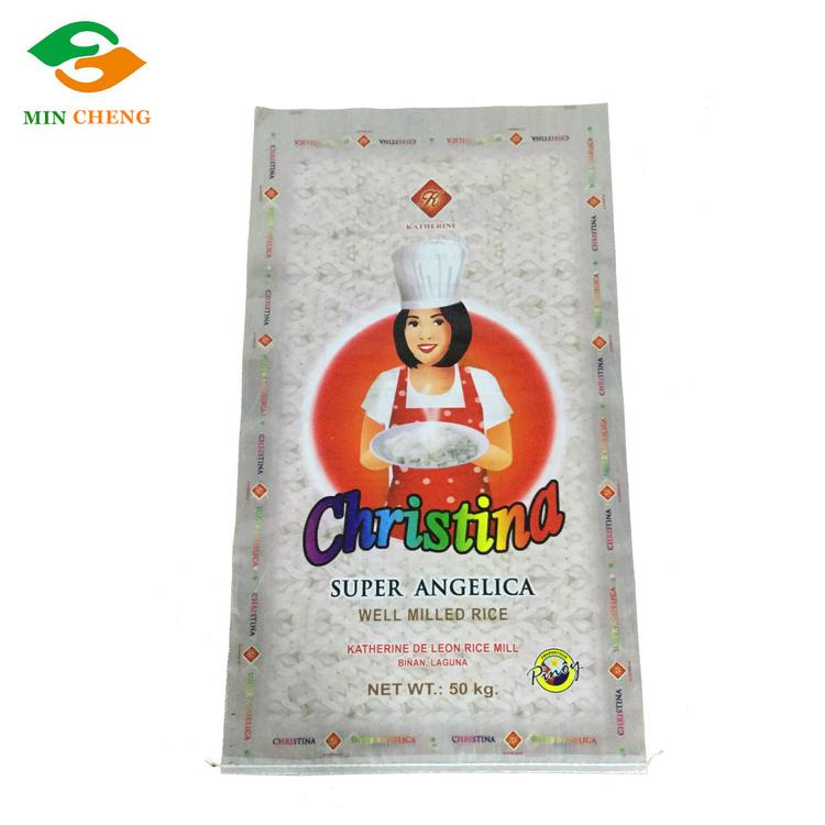 double sides bopp gravure printing 50kg pp woven rice sack