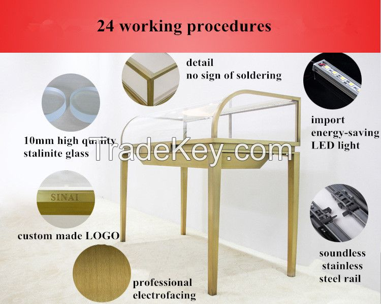 cambered faced showcase, display case for jewelry, diamonds, golds, cosmetics...