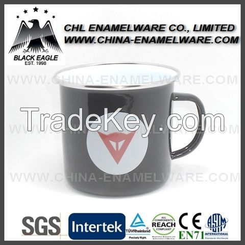 SGS certified enamel sublimatable mug with stainless steel rim