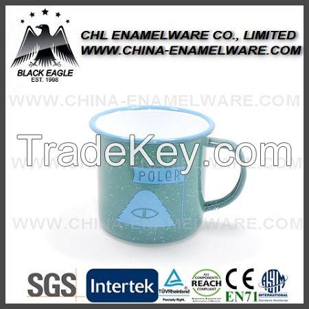 Logo printing custom enamel mug, custom steel enamel campingmug, white logo printing metal enamel cup