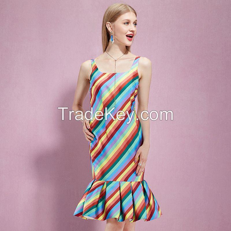 New Fashion 61077 Women Casual Button Tunic Rainbow Bandage Dress Striped Elegant Sleeveless Trumpet Midi Dress