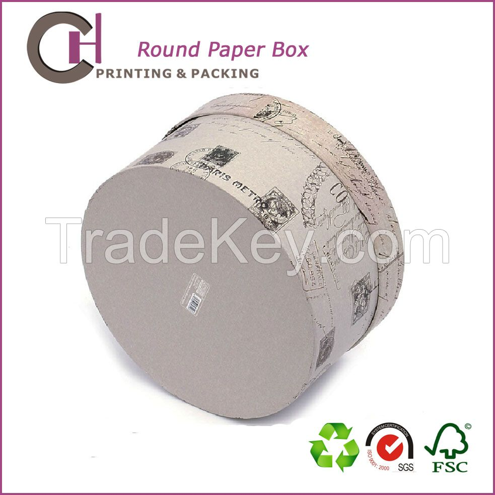 England style custom round shape cardboard paper gift packaging box