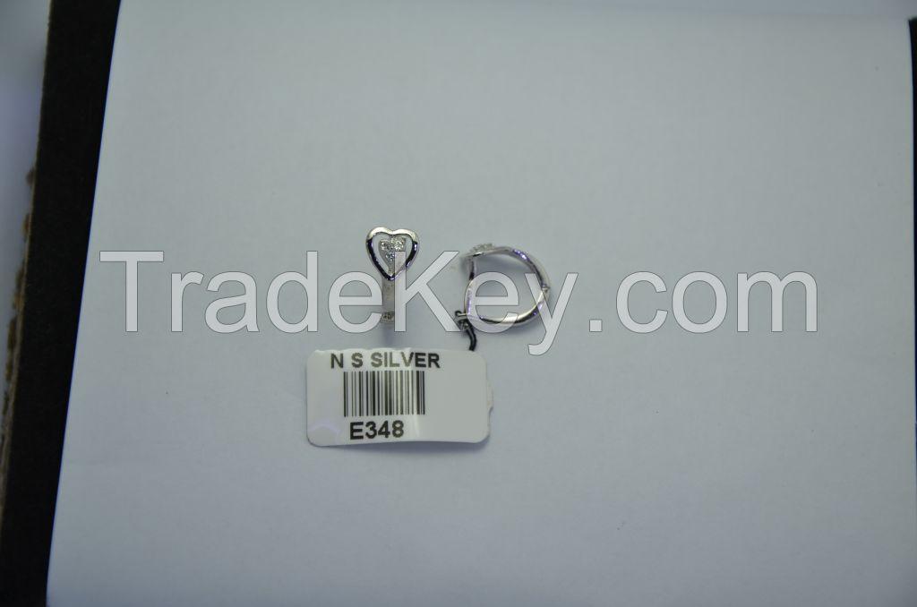 Latest model fashion earring, 925 sterling silver earring, heart shape earring