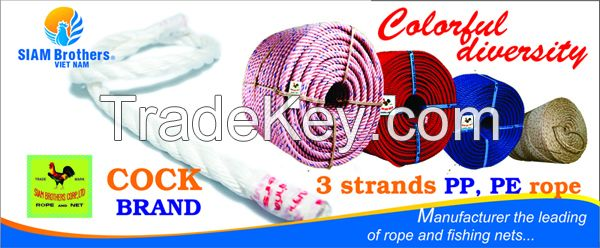 High Quality 3 Strands Color Twisted PP Rope with UV protection and waterproof