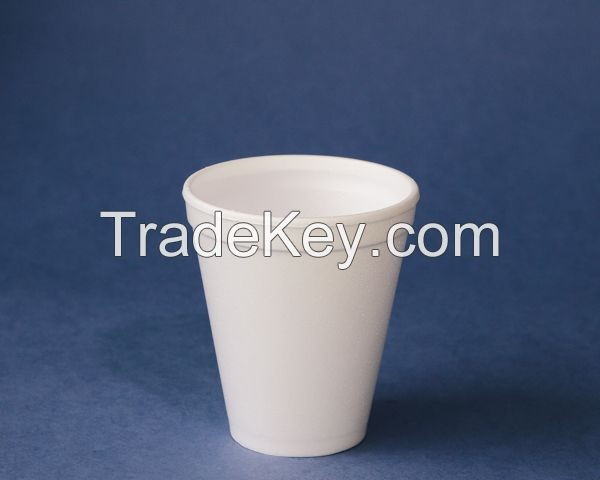 Foam cups and containers made of Expanded Polystyrene (EPS), foam and plastic lids for cups and containers
