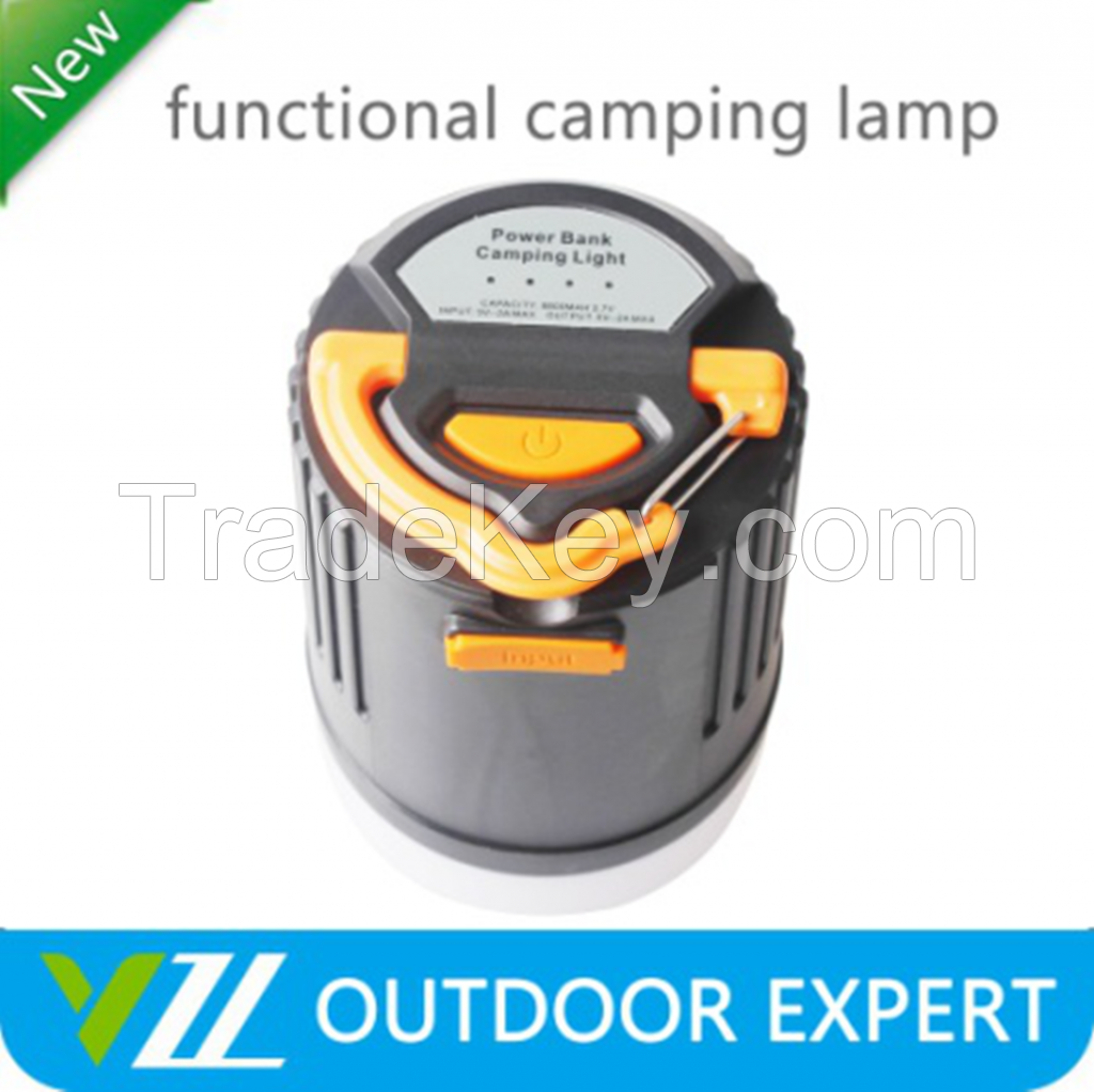 ABS Ultra Bright Outdoor Emergency Mini Led Camping Light With 10400 mah Power Bank