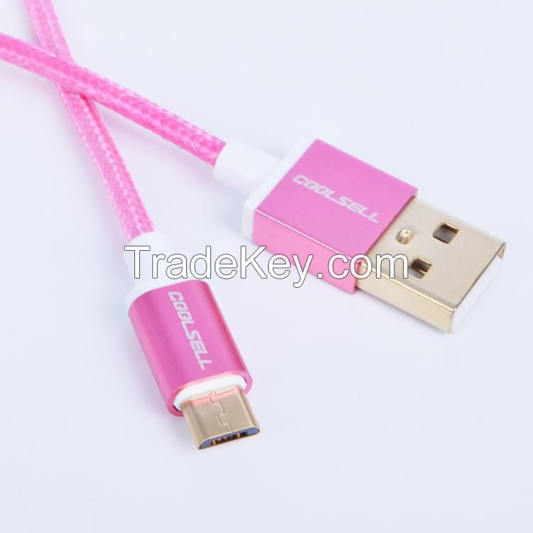 Fabric braided USB cable with Aluminum Alloy Shell for mobile phone