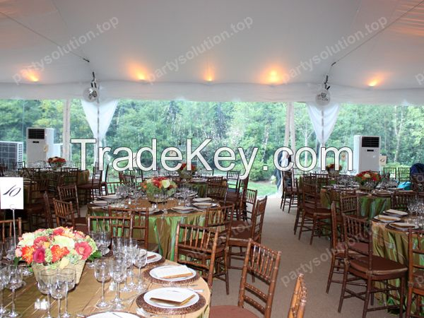 wedding marquee with table chair lighting and all decorations