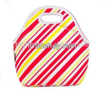 white flower silkscreen or transfer printing thermal lunch box bag neoprene lunch bag