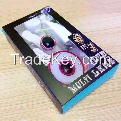 6 in 1 LED multi phone Lens,  Fisheye, Wide Angle, Macro Lens and LED Selfie Light