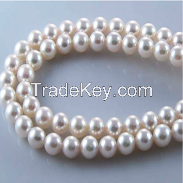 16 inches AAA 8.5-9mm Round White Loose Akoya Pearls Strand