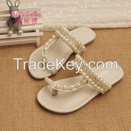 Fashion flat shoes girls platform sandals pearls home children slippers